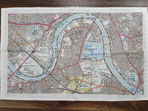 Barnes Map Tea Towel
