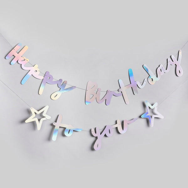 Iridescent Happy Birthday To You Banner