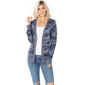 CAMOUFLAGE PRINT SNAP BUTTON CARDIGAN SI-16237