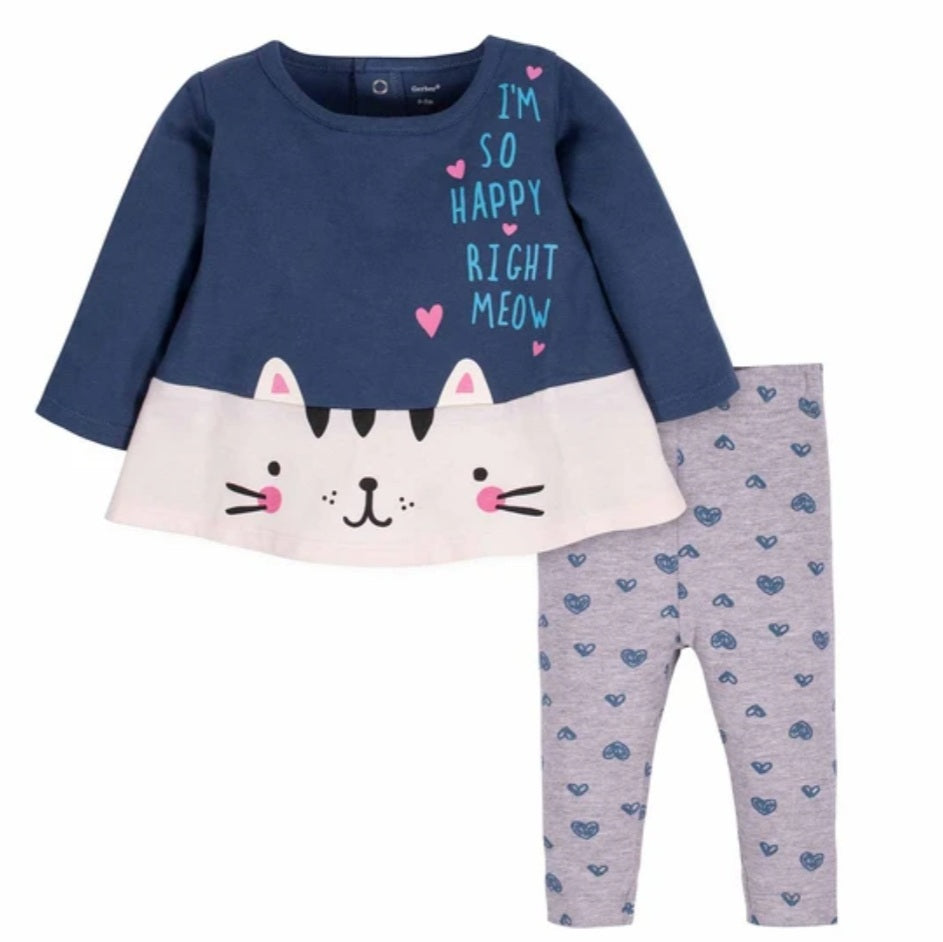 2-Piece Baby Girls Kitty Tunic and Legging Set