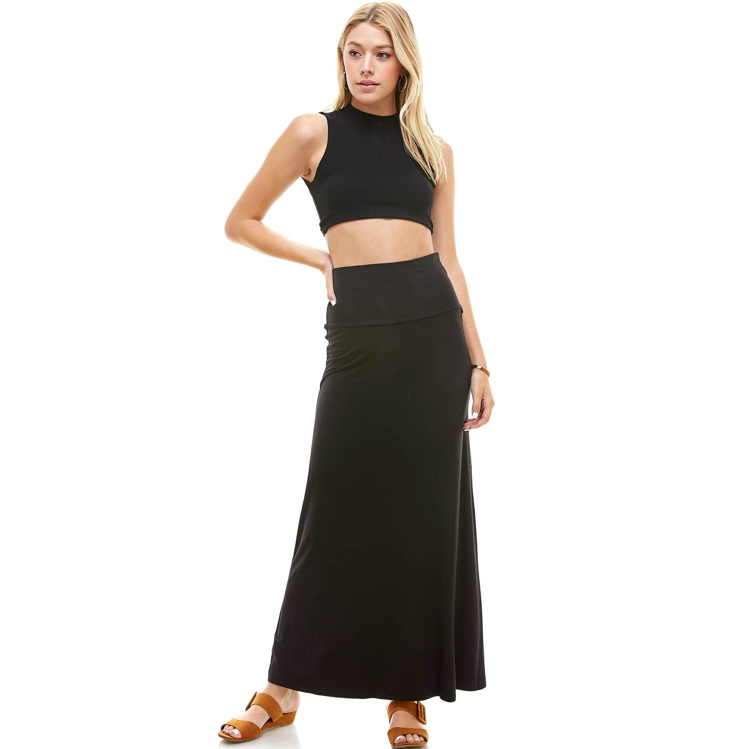 High Waist Soft Maxi Skirt | ASK-9001RS | Made in USA