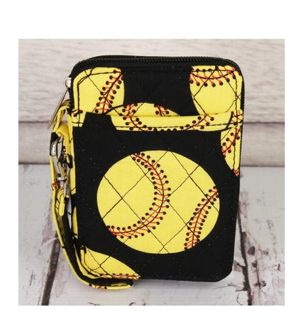 Softball Quilted Wristlet