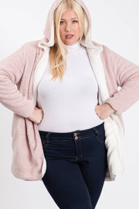 Plus Size Double Side Sherpa Hoodie
