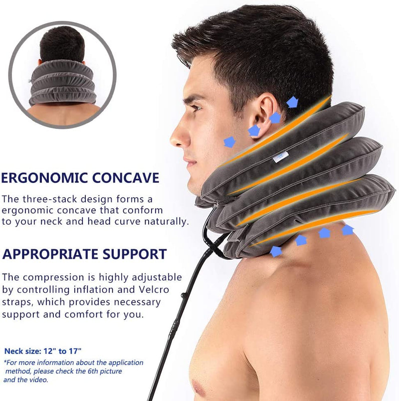 Inflatable Neck Support U Pillow Outdoor Airplane Travel Adjustable Cervical Traction Brace