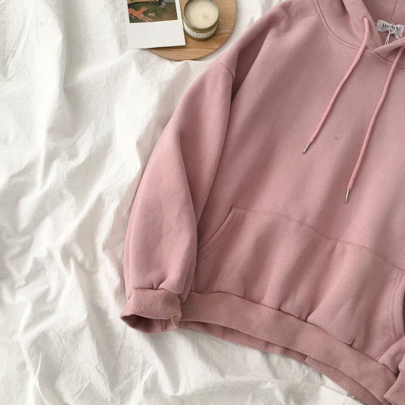 Solid Color Hoodie Women Long Sleeve Hooded Sweatshirt Fashion Girl Gift Drawstring  Blouse