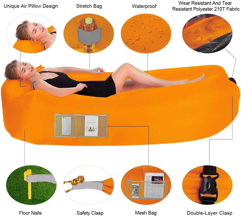 Inflatable Lounger Air Sofa Beach Hammock Camping Pack Bag Chair Outdoor Travel Couch