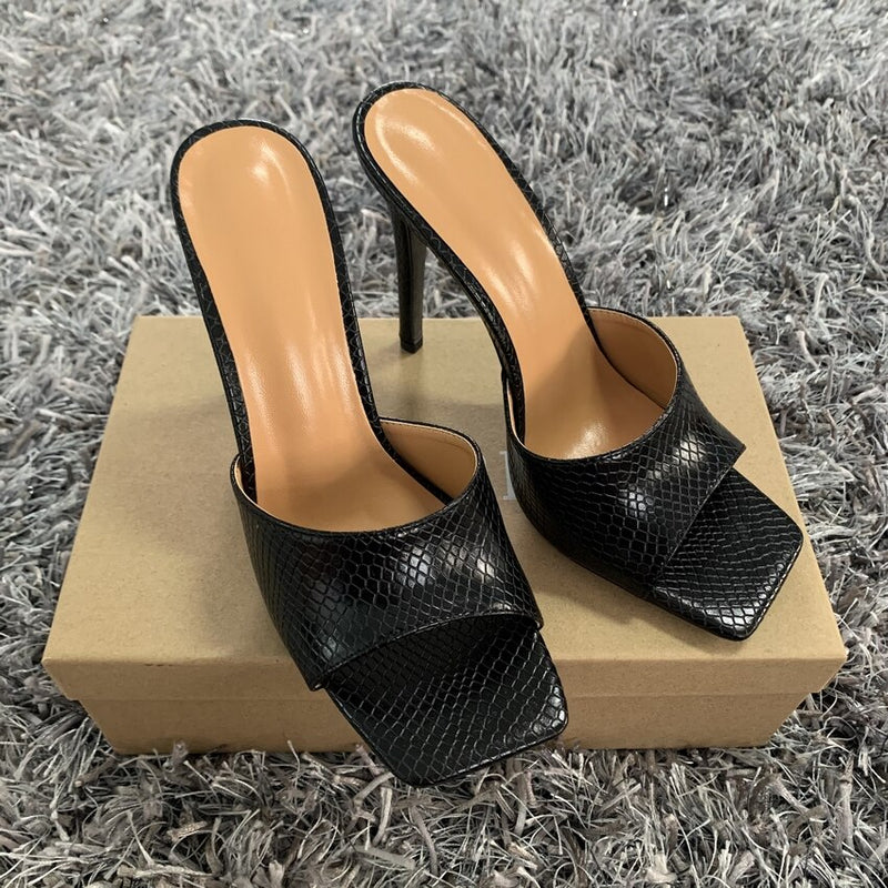 11cm Pumps Square Toe Ladies Heel Mules Sexy Thin High Heels Sandals Slippers Fashion Female Shoes