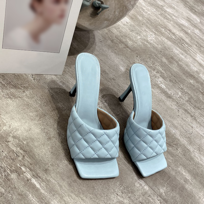 9cm PU Square Head Peep Toe High Heel Slippers Summer Fashion Slip On Thin Heels Slides for Sexy Mules Party