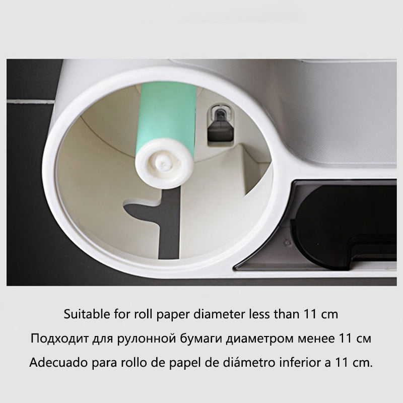 Bathroom Toilet Paper Holder Paper Tissue Box Wall Mounted Roll Paper Dispenser Storage Box