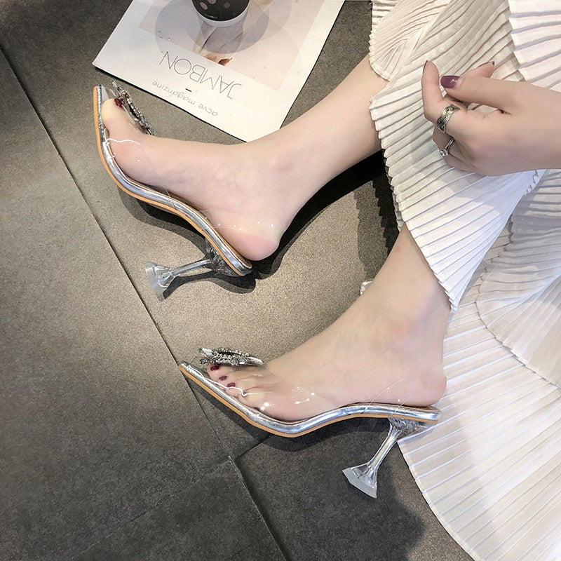 7cm Transparent High Heels Slipper Pointed Toe Slip-on Wedding Party Fashion Women Pumps Shoes