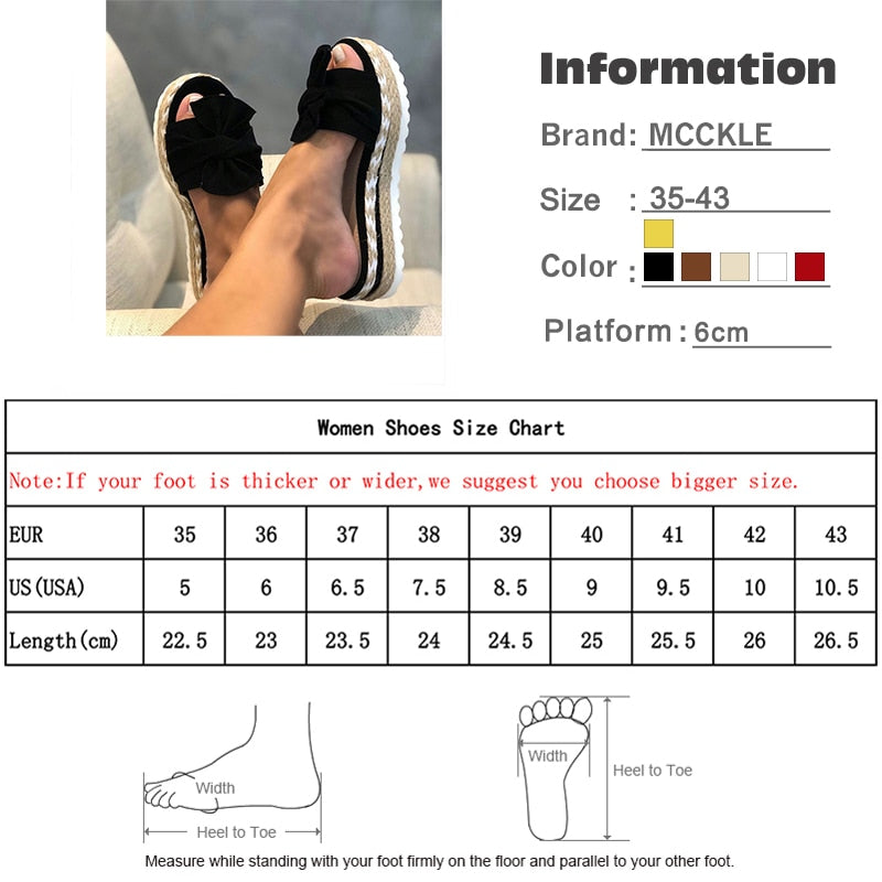 Women Slides Bow Summer Sandals Bow-Knot Slippers Thick Soles Floral Beach Shoes Flip Flops