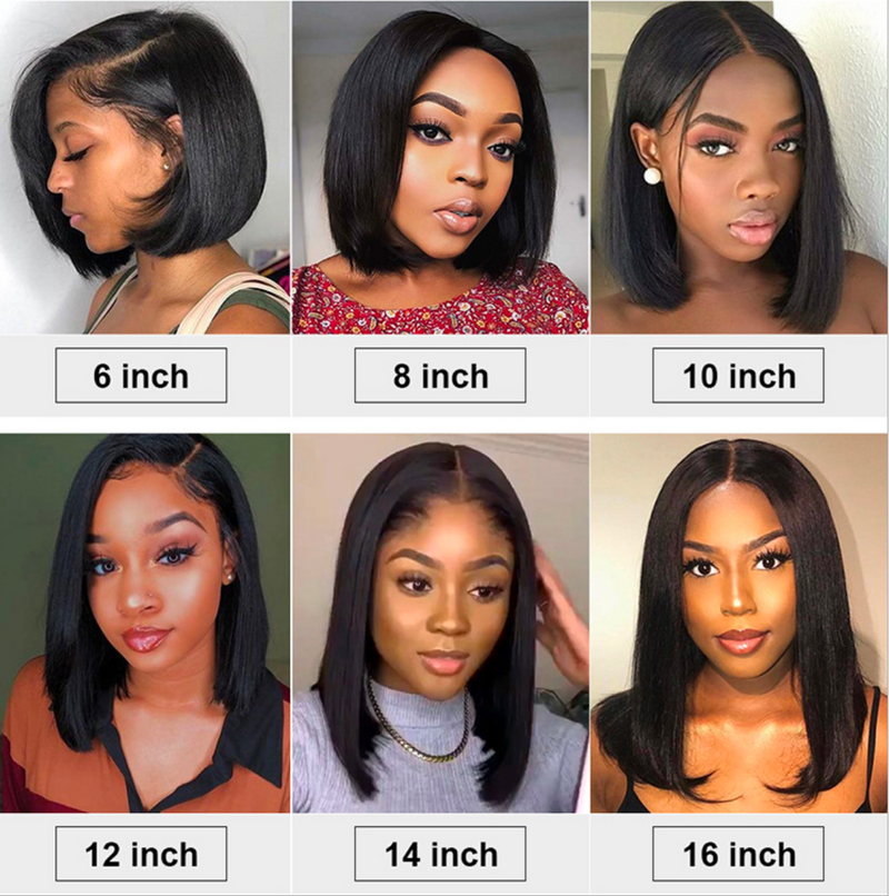 8-16in Brazilian Straight Hair Bob Wig  Front Human Hair Wigs Remy Lace Front Wig Straight