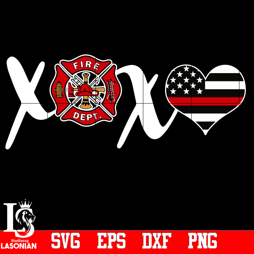 Xoxo Heart Firefighter Svg Eps Dxf Png File Lasoniansvg