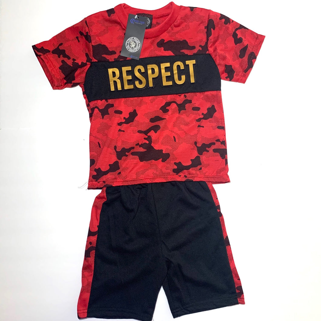 Kid's Embossed Jersey Tee with French Terry Short K2FT