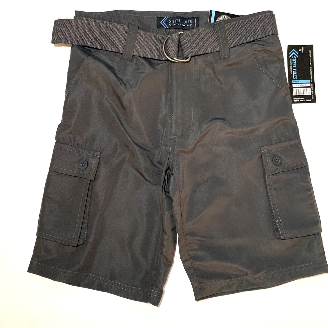 Boy's  MF Belted Cargo Shorts BFLK1/48 Charcoal