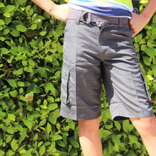 Load image into Gallery viewer, Boy's  MF Belted Cargo Shorts BFLK1/48 Charcoal