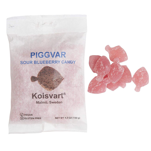 Kolsvart Swedish Fish in Sour Blueberry, 4.2oz. Vegan and Gluten free