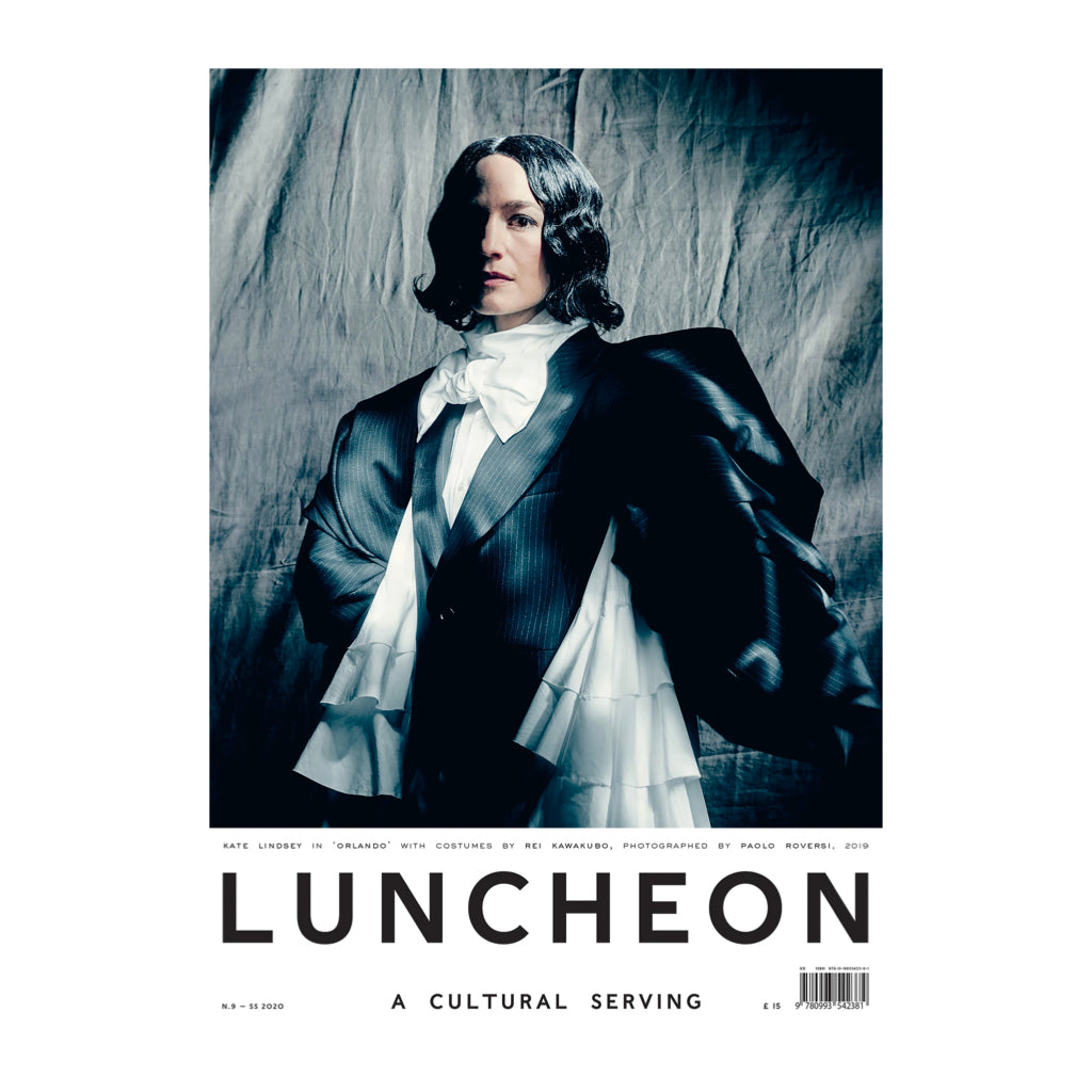 Luncheon magazine issue 9. On the cover: Kate Lindsey in Orlando with costumes by Rei Kawakubo, photographed by Paolo Roversi, 2019