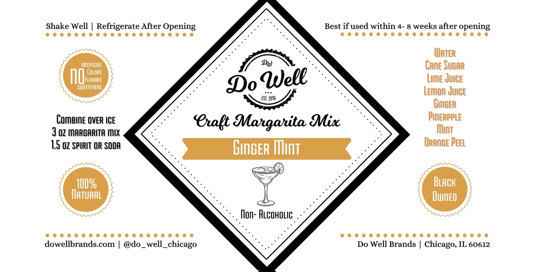 Ginger Mint Craft Margarita Mix- 32 oz