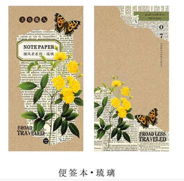 Pocket Kraft Paper Memo Pad Flower Notepad Stationery Scrapbooking Memo Notes To Do List Tear Checklist Note Pad