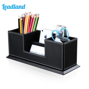 Office PU Leather Desktop Stationery Organizer Double Pen Pencil Holder