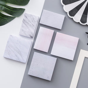 Korean stationery personalized creative marble texture convenient stickers can be tore urinate sign book notes N times