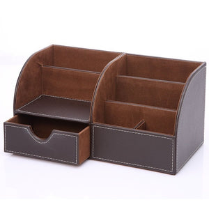 7 Storage Compartments PU Leather Stationery Holders Office Desk Organizer Collection Business Card Pen Pencil Holder
