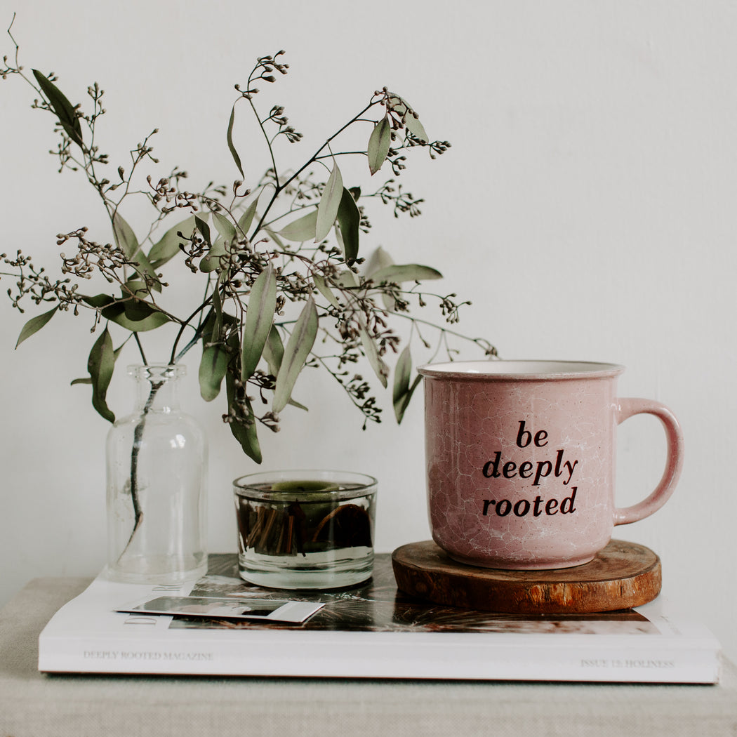 "Marbled ""Be Deeply Rooted"" Mug"