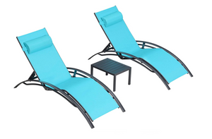Aluminum Turquoise Sunbed Pair Set, with Table