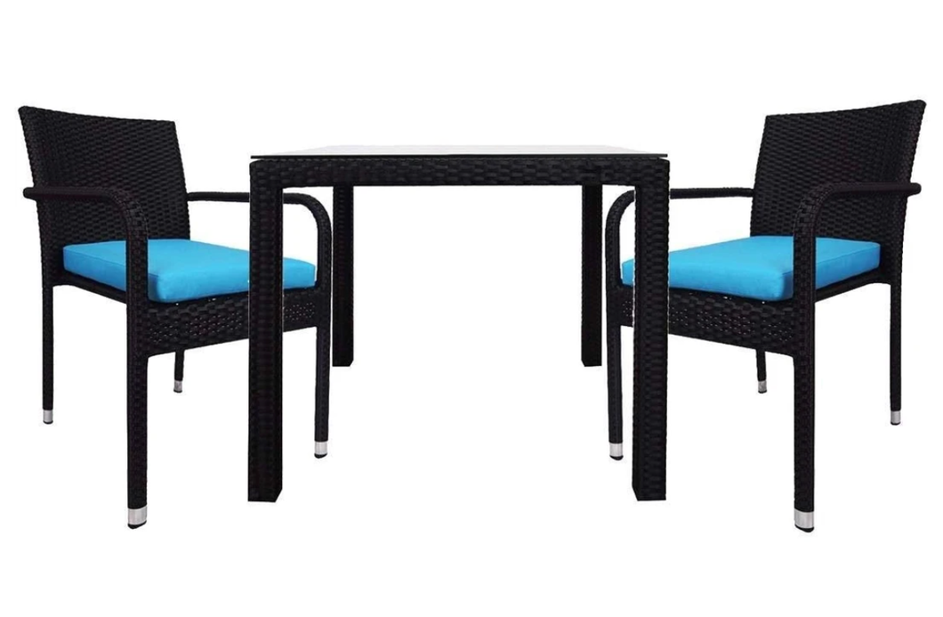 2 Chair Dining set, Blue cushions