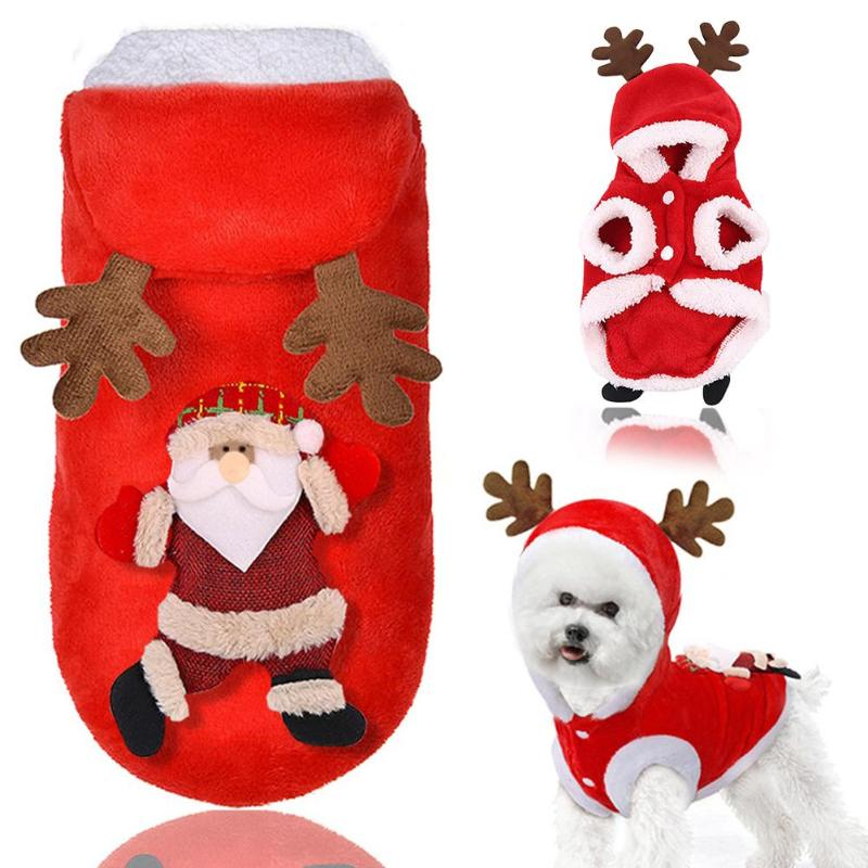Christmas Dog Clothes Santa Elk Costume for Pug Chihuahua Yorkshire Pet Cat Clothing Jacket Coat Pets Costume Coat Winter Hoodie