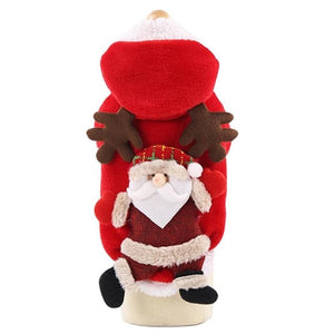 Open image in slideshow, Christmas Dog Clothes Santa Elk Costume for Pug Chihuahua Yorkshire Pet Cat Clothing Jacket Coat Pets Costume Coat Winter Hoodie