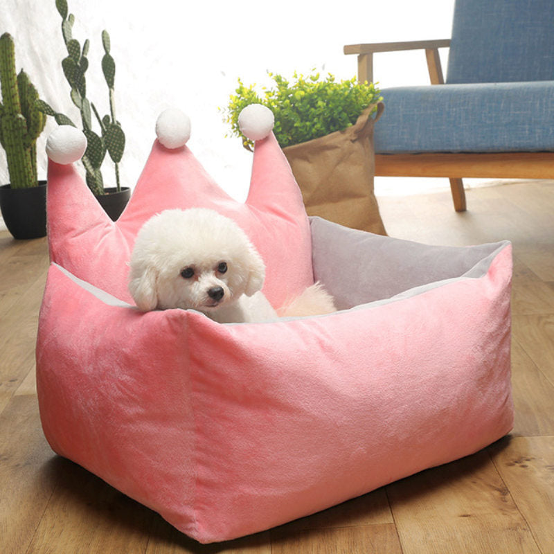 Warm Dog Bed Cute Pink Crown Pet Bed Warm Cotton Puppy Pet Dog Cat House for Small Medium Large Dogs Deep Sleeping Dog Mat
