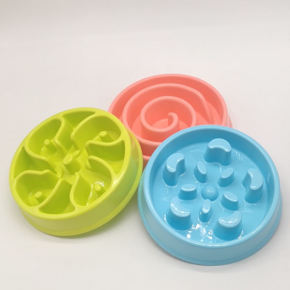 Colorful Bowl Pet Container Dog Dish Pad Food Water Feeder Eat Slow Puppy Cat Pet Exercise Practical Product