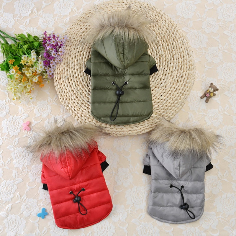 Winter Warm Small Dog Clothes Pet Dog Coat For Chihuahua Soft Fur Hood Puppy Jacket Clothing for Chihuahua Small Large Dogs