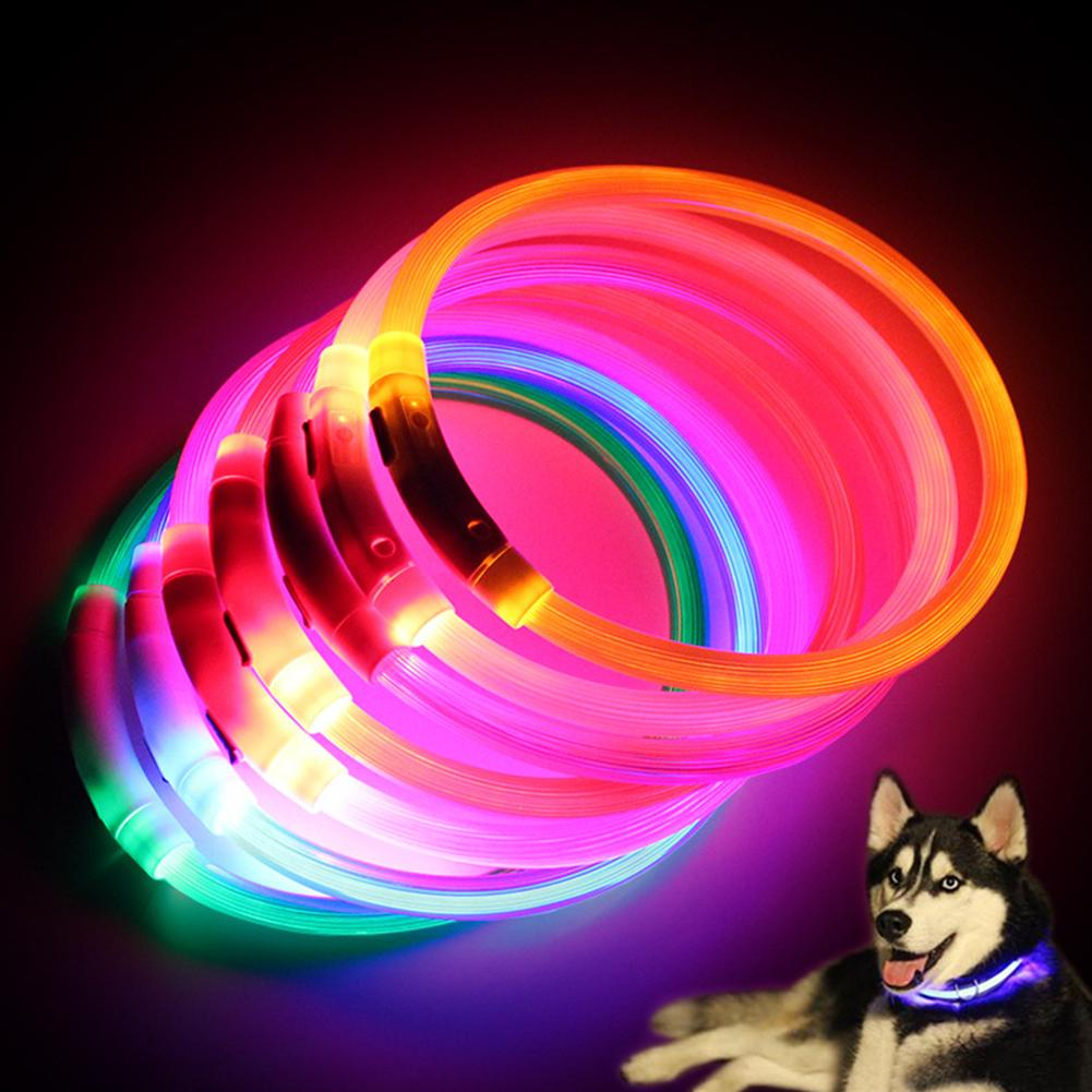 Led Night Flashing Luminous Fluorescent Dog Cats Collar Waterproof USB Charging Pet Puppy Neck Collar Home Garden Rechargeable