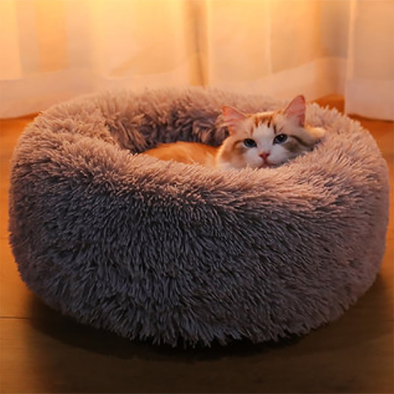 Kennel Super Soft Fluffy Dog Long Plush Dounts Beds Calming Bed Hondenmand Pet Comfortable for Large Dog House