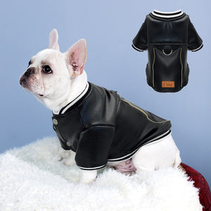 Black Leather Dog Jacket French Bulldog Clothes Winter Pet Coat Dog Clothes Waterproof Outfit Costume for Small Medium Dogs Pug