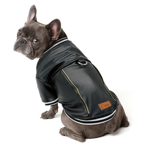 Open image in slideshow, Black Leather Dog Jacket French Bulldog Clothes Winter Pet Coat Dog Clothes Waterproof Outfit Costume for Small Medium Dogs Pug