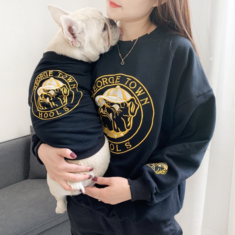 Pet Dog Spring Autumn Clothes for Small Dogs French Bulldog Embroidery Pattern Sweater Chihuahua Clothing Pug Costume Yorkie
