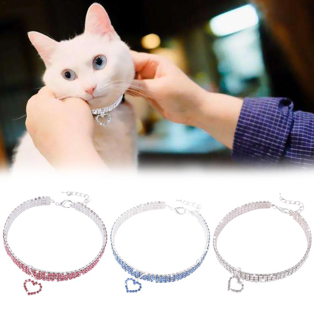 Pet Collar Cat Dog Necklace Cute Fashion For Small Dog Girl Wakeu Rhinestone Bling Collars With Bone Pendant Pet Necklace