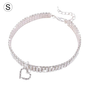 Open image in slideshow, Pet Collar Cat Dog Necklace Cute Fashion For Small Dog Girl Wakeu Rhinestone Bling Collars With Bone Pendant Pet Necklace