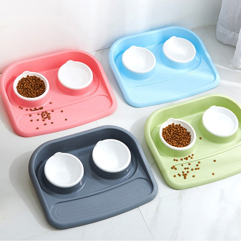 Pet dog Bowls Puppy dog food bowl stainless steel Cat Bowl Water Food Storage Feeder Non-toxic PP Resin Combo Rice Basin