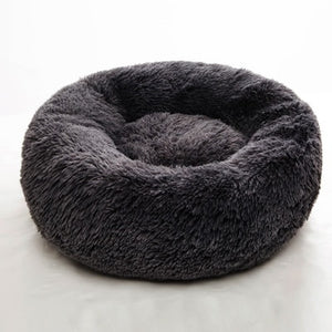 Open image in slideshow, Round Pet Bed Cat Dog Winter Warm Sleeping House Washable Long Plush Dog Kennel Cat Bed Kennel Nest Foldable Puppy Cushion Mat