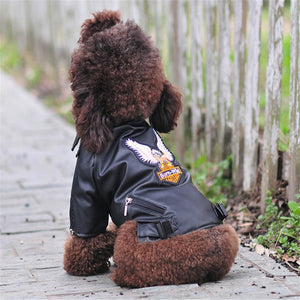 Open image in slideshow, Glorious Eagle Pattern Dog Coat PU Leather Jacket Soft Waterproof Outdoor Puppy Outerwear Fashion Clothes For Small Pet(XXS-XXL)