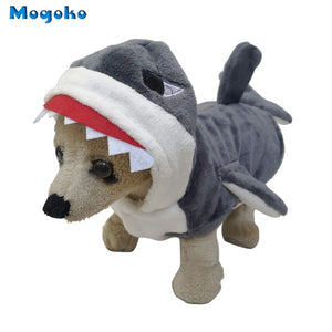 Mogoko 1pc Pet Dog Cosplay Clothes Cute Shark Jaws Fancy Dress Costume Puppy Coat Jacket Outfit Adorable Gray Hoodies S-XL Size