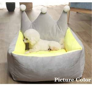 Open image in slideshow, Warm Dog Bed Cute Pink Crown Pet Bed Warm Cotton Puppy Pet Dog Cat House for Small Medium Large Dogs Deep Sleeping Dog Houses