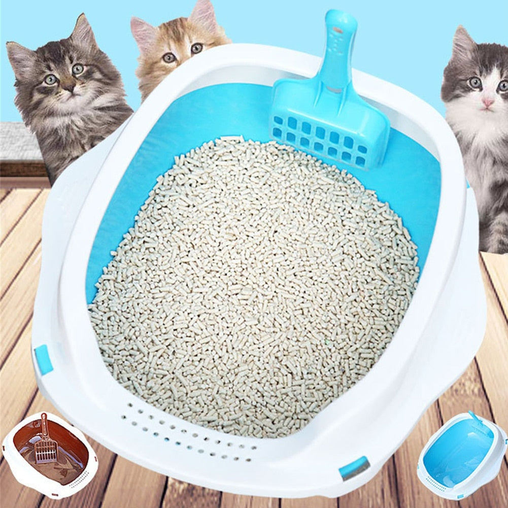 Cats Litter Box Anti Splash Pet Toilet Bedpan Cat Dog Tray with Shovel Scoop Kitten Puppy Clean Toilette Home Plastic Sandbox