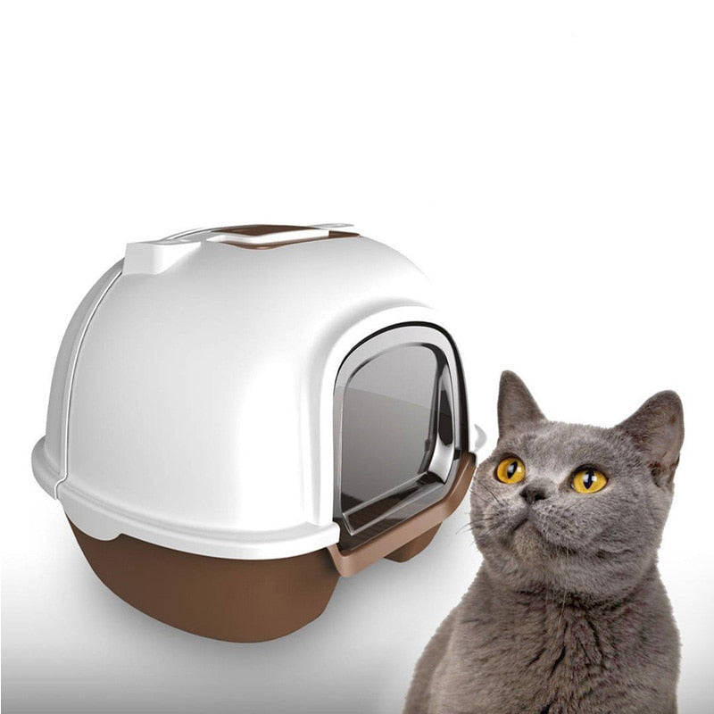 Portable cat litter box fully enclosed back flip cat washroom environmental protection spatter and deodorisation pet bowl sand