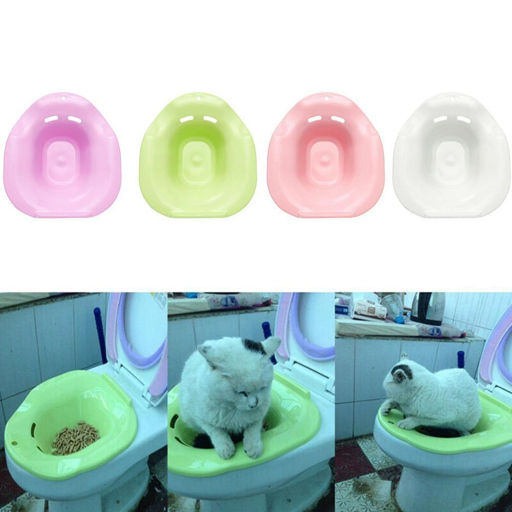 Pet Cat Toilet Training Kit Cleaning System Pets Potty Urinal Litter Tray Training Toilet Tray Pet Supplies Solid Color